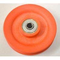 "Idler Bearing, Poly Material w/ rounded grooves for rope or belt 3 1/2"" Diameter 3/8 Shaft"