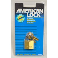 American Look - Solid Brass #B30CC - Brass Cylinder, Steel Shackle - 2 Keys.
