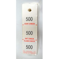 Gerenations Product: Hat and Coat Checks -3 part tag, 500 checks #1 - #500