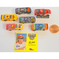 "Racing Champion ""Hut Stricklin"" 35mm Nascar models-6 cars, 1 pedistal, infor card."