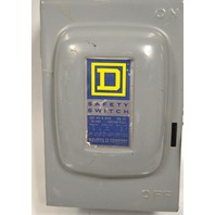 Square D Safety Switch, Single Throw, Fusable #D 211N, 30 Amp, 120/240 VAC
