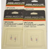 Mini-Maglite Vacuum Flashlight Lamps - 2 lamps, size AAA per pack - 4 packs.