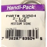 "Handi Pack #83504  - 6 - 2 1/2"" Med Wire Stainless Steel S Hooks."