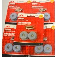 "Ace Glides #5039664 - 1"" Round Screw On Glides-Low Friction 4 per pk - 5 packs"