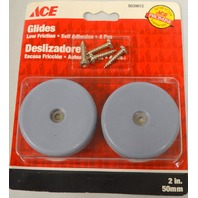 "Ace Glides #5039672 - 1 pk of 4 - 2"" round Low Friction Screw On Glides."