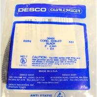 Desco #09480 Coiled Black Cord - 6' - New