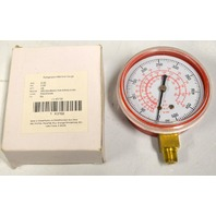 "Refrigeration Gauge, 2 1/2"" - 1/8"" NPT, Low Connect, 0-500PSI, Red Poly Back"