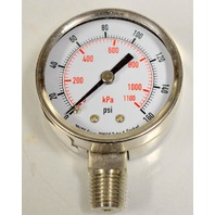 "Pressure Gauge Stainless Steel Body  #4FMK8 2"", 0-160 PSI Individually boxed."