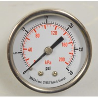 "Pressure Gauge #4FMK7 - 2"" 0-30PSI, (0-022Kpa) 1/4"" NPT, SS, Back Connect"