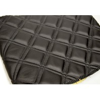 "Quilted Black Leather inserts w/black Stitching-Upholstery Fabric - 24"" x 12""."
