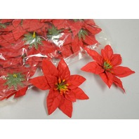 """Faux Pointsettia - 4"""" across - Red - 100 pack. Table Decorations no stems."""