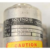D. C. Solenoid -Mod 2001, Pt#12E2U1BAS2, SER#34754, 12vdc, Used.