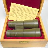 Leitz Trinovid 7 x 42BA, 140m/1000m green rubber binoculars-w beautiful wooden box.