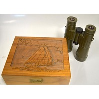 Leitz Trinovid 7 x 42BA, 140m/1000m green rubber binoculars-w beautiful wooden box.