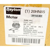 DAYTON HVAC Motor,1/15 HP,1550 rpm,120V, Shaft 1/4 x 2.0, Type PSC, #20HN85