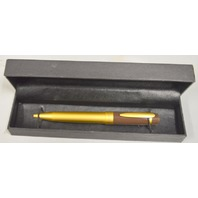 Lancaster Brass BROWN Top MATTE Gold Ball Pen BEAUTIFUL ITALY