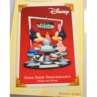 "Hallmark 2005 ""SODA SHOP SWEETHEARTS"" Mickey & Minnie Ornament (NIB)"