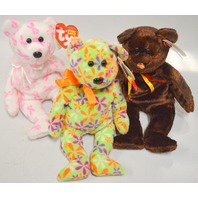 3 Beanie Babies: M.C. Beany, Groovy and Giving - All new with the tags on.