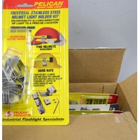 Pelican Universal Stainless Steel Helmet Light Holder Kit - New old stock. 5 pcs.