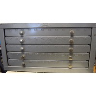 Cabinet w/ regular drill bits.  Over 100 bits of various sizes. 5 drawers