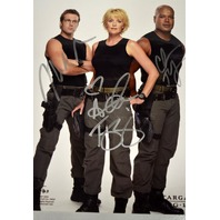 Stargate Signed Photograph Amanda Tapping, Michael Shanks, and Christopher Judge