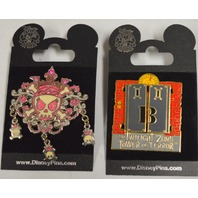 Disney Pins - The Twilight Zone Tower of Terror and Skulls and Cross Bones.