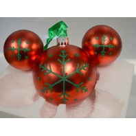 2010 Mickey Mouse Icon Ornament - Red with Green Snowflakes. #301964
