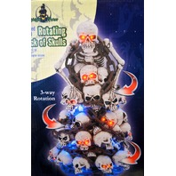 "Midnight Manor Rotating Stack of Skulls 11"" Tall Musical, LED. 3 way Rotation."