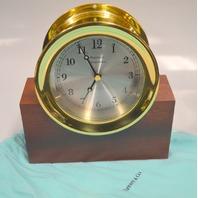 Tiffany & Co. Portfolio Brass Ship's Clock with Mahogany Base.