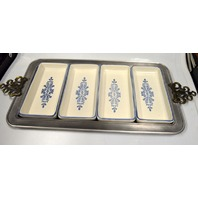 Pewter Relish Tray with 4 Ceramic Dishes - Pfaltgraff - Yorktowne Blue 716-51