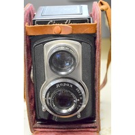 Vintage Ciro-Flex Twin Lens Camera Rapax Wollensak 85mm 3.5 Lens, Leather Cover