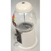 """M&M's Gum Ball Machine for M&M's - 11"""" tall, white base w/Glass Ball."""