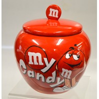"M&M Candy Dish with Lid 4"" Opening Dia x 5"" tall - Red."