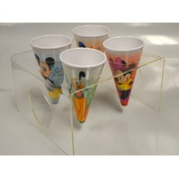 Mickey Mouse,Minnie, Donald and Pluto Plastic Ice Cream Cones and Server