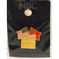 Beijing 2008 NBC Olympic Pin - Dual Flag Logo