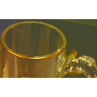 Atlanta 1996 Olympic Clear Glass Beer Stein with Gold Ring around top edge.
