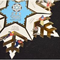 "Torino 2006 USA Medal Count Pin Set - 5"" across"