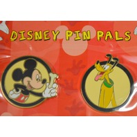 Disney Pin Pals 2 Pin Set - Mickey with a bone and Pluto. #96203