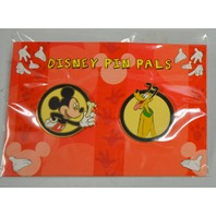 Disney Pin Pals 2 Pin Set - Mickey with a bone and Pluto. #96203
