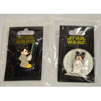 Disney Star Wars Collectibe Pins - 2 pcs - Mickey and Minnie in costume.