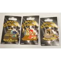 Disney Pins-Pirates of the Caribbean-3 pins, Mickey, MInnie and Pluto.