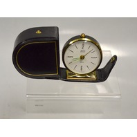 Linden Travel Alarm Clock - Black w/ white face -  Black Forest in its case.