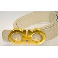 Salvatore Ferragamo White Fashion Belt w/Gold Buckle Horseshoe Design Unixex