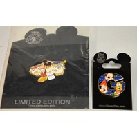 """2 Disney Pins: Mickey with Flag """"Gary"""" on it and The Letter G w/Mickey,Minnie-Goofy"""