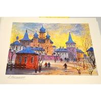 Anatole Krasnyansky - Prague Icy Refection - Secriolithograph,Signed, unframed.