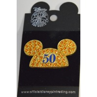 """Official Disney Trading Pin """"50"""" Years Mickey Mouse Yellow Rhinestone Ears."""