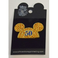 "Official Disney Trading Pin ""50"" Years Mickey Mouse Yellow Rhinestone Ears."