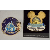 2 - Disney  pins: Disneyland 50th Anniversary & The Happiest Celebration on Earth