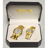 Geneva Quartz Watches - His and Hers - Gold tone