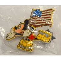 Disney Pin Mickey Mouse Skating with American Flag (flag moves) #95198